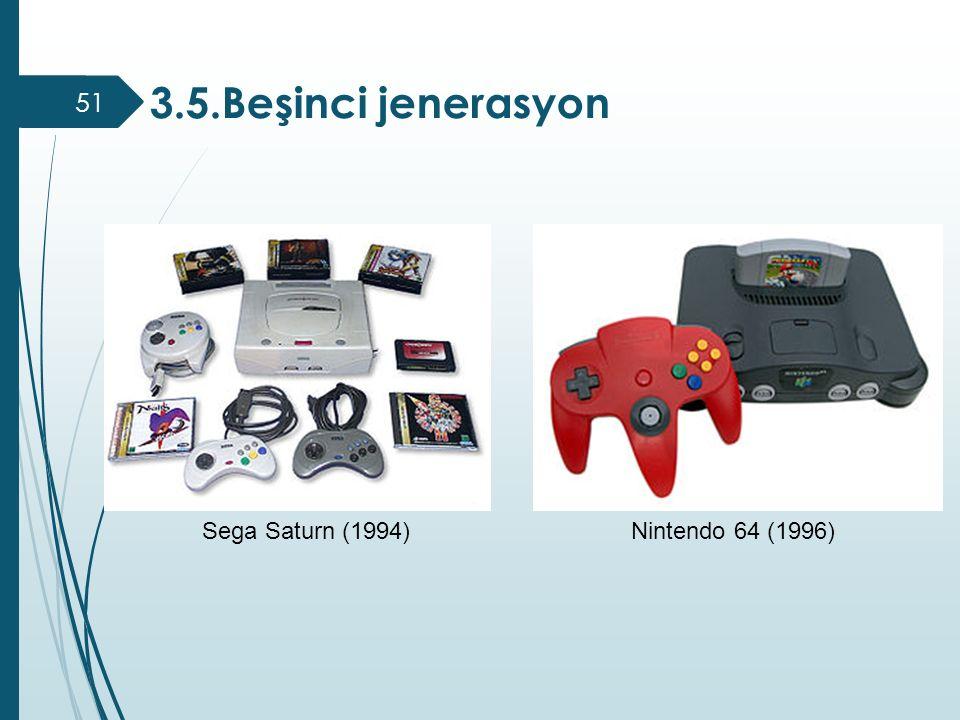 3.5.Beşinci jenerasyon Sega Saturn (1994)Nintendo 64 (1996) 51