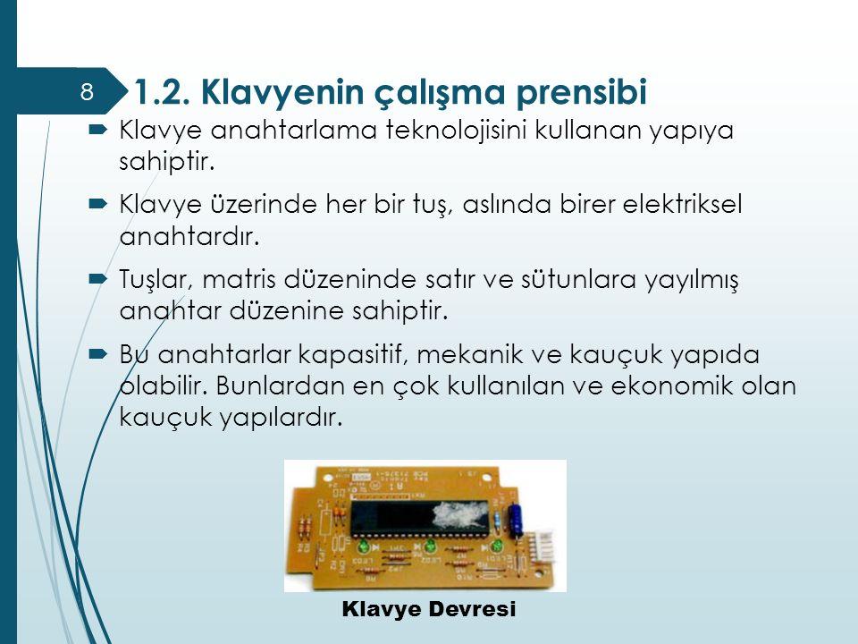 1.2. Klavyenin çalışma prensibi  Klavye anahtarlama teknolojisini kullanan yapıya sahiptir.  Klavye üzerinde her bir tuş, aslında birer elektriksel