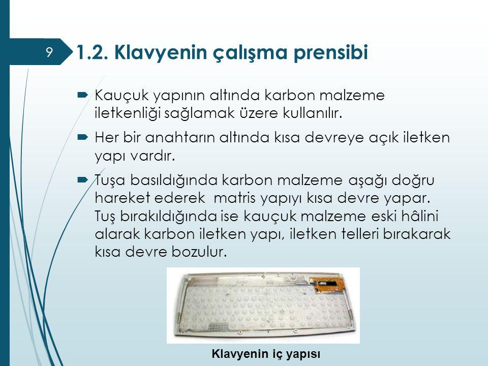 1.2. Klavyenin çalışma prensibi 9  Kauçuk yapının altında karbon malzeme iletkenliği sağlamak üzere kullanılır.  Her bir anahtarın altında kısa devr