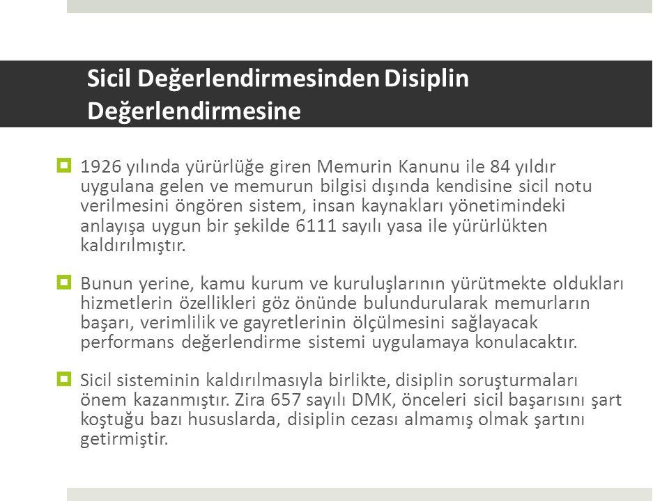 Sicil Değerlendirmesinden Disiplin Değerlendirmesine  1926 yılında yürürlüğe giren Memurin Kanunu ile 84 yıldır uygulana gelen ve memurun bilgisi dış