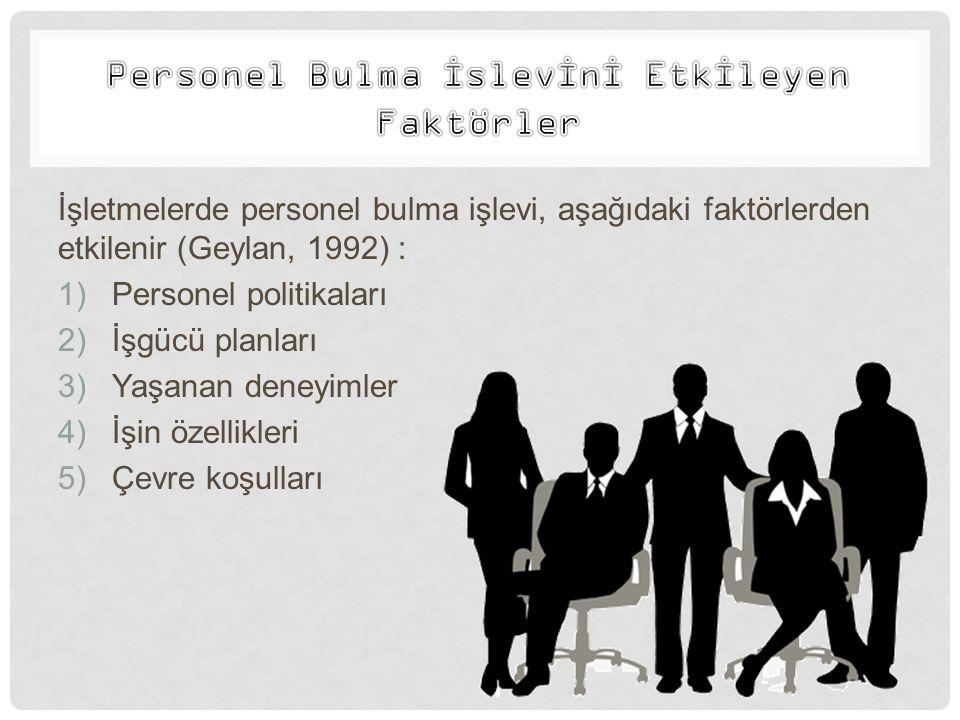 İşletmelerde personel bulma işlevi, aşağıdaki faktörlerden etkilenir (Geylan, 1992) : 1)Personel politikaları 2)İşgücü planları 3)Yaşanan deneyimler 4
