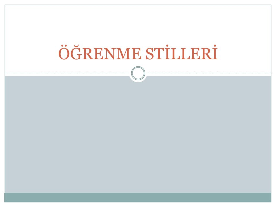 ÖĞRENME STİLLERİ