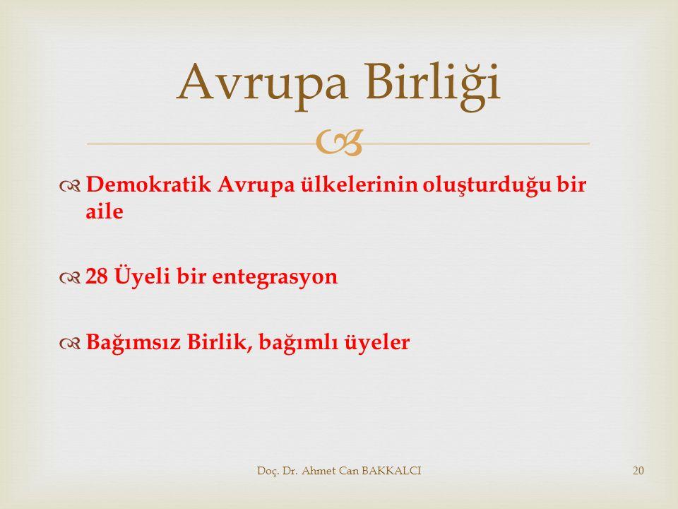  Avrupa Birliği  Demokratik Avrupa ülkelerinin oluşturduğu bir aile  28 Üyeli bir entegrasyon  Bağımsız Birlik, bağımlı üyeler Doç. Dr. Ahmet Can