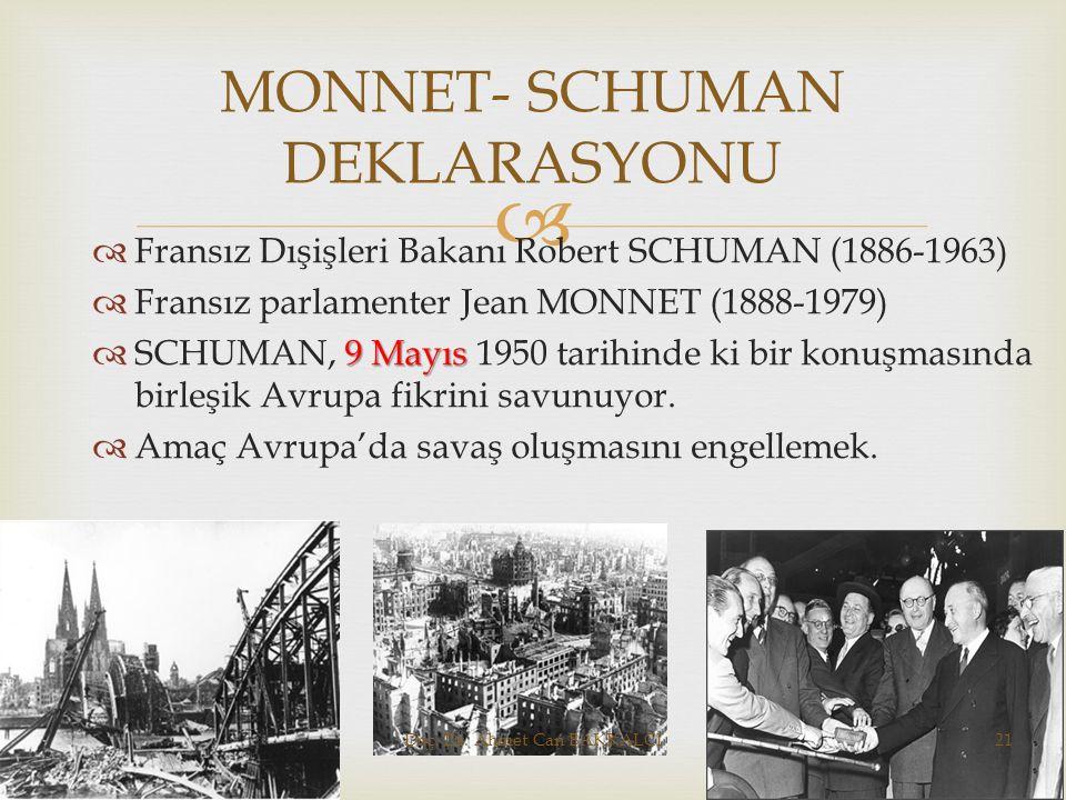   Fransız Dışişleri Bakanı Robert SCHUMAN (1886-1963)  Fransız parlamenter Jean MONNET (1888-1979) 9 Mayıs  SCHUMAN, 9 Mayıs 1950 tarihinde ki bir