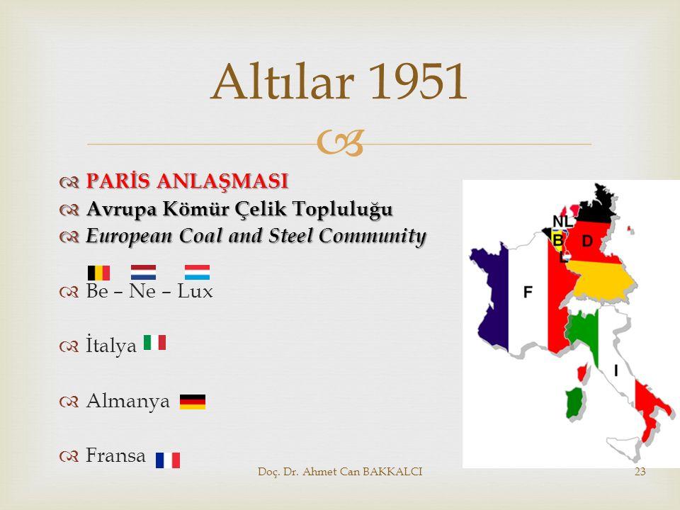  Altılar 1951  PARİS ANLAŞMASI  Avrupa Kömür Çelik Topluluğu  European Coal and Steel Community  Be – Ne – Lux  İtalya  Almanya  Fransa Doç. D