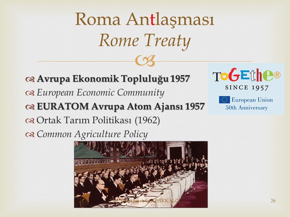  Avrupa Ekonomik Topluluğu 1957  European Economic Community  EURATOM Avrupa Atom Ajansı 1957  Ortak Tarım Politikası (1962)  Common Agricultur