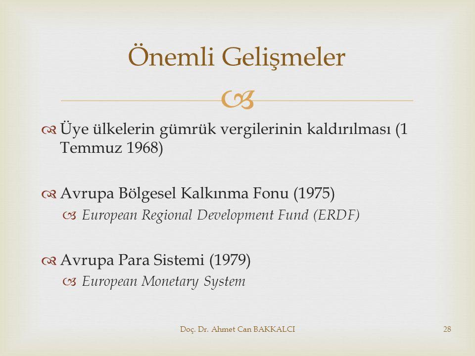   Üye ülkelerin gümrük vergilerinin kaldırılması (1 Temmuz 1968)  Avrupa Bölgesel Kalkınma Fonu (1975)  European Regional Development Fund (ERDF)