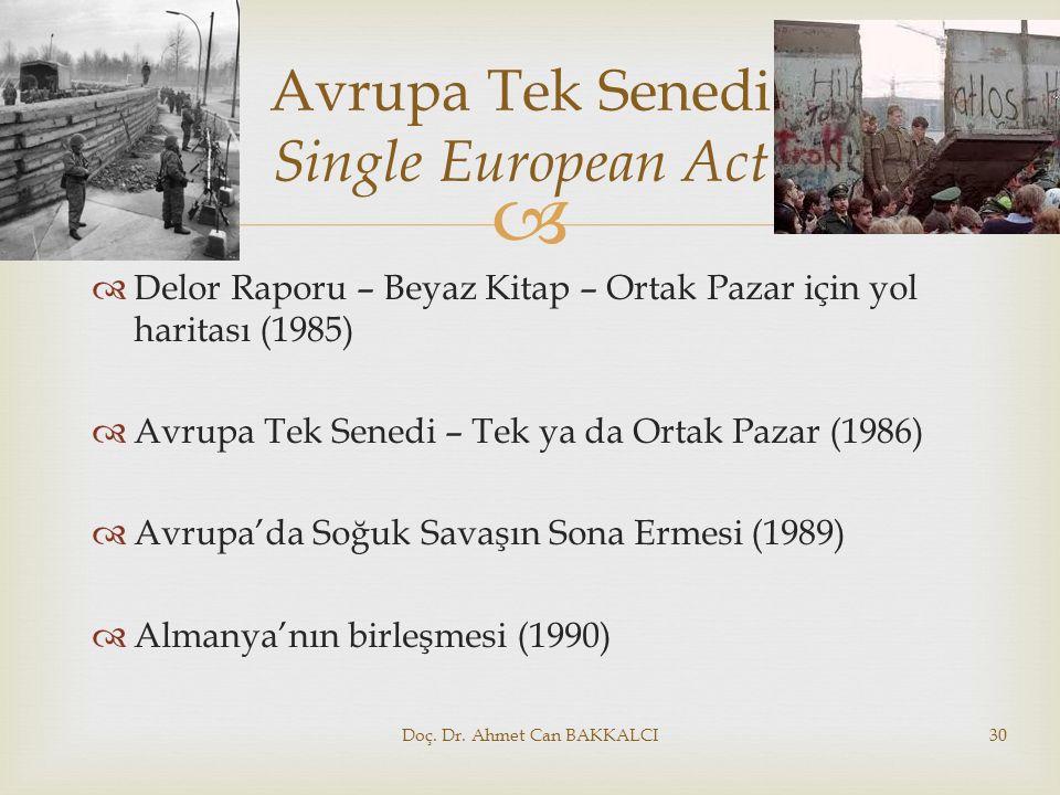   Delor Raporu – Beyaz Kitap – Ortak Pazar için yol haritası (1985)  Avrupa Tek Senedi – Tek ya da Ortak Pazar (1986)  Avrupa'da Soğuk Savaşın Son