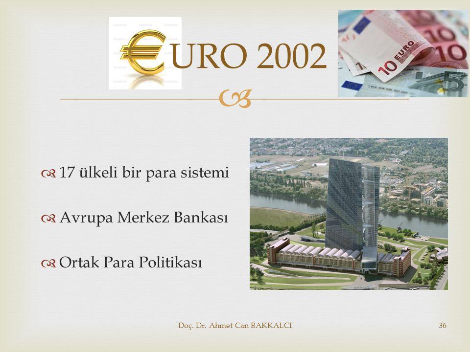   17 ülkeli bir para sistemi  Avrupa Merkez Bankası  Ortak Para Politikası Doç. Dr. Ahmet Can BAKKALCI36 URO 2002