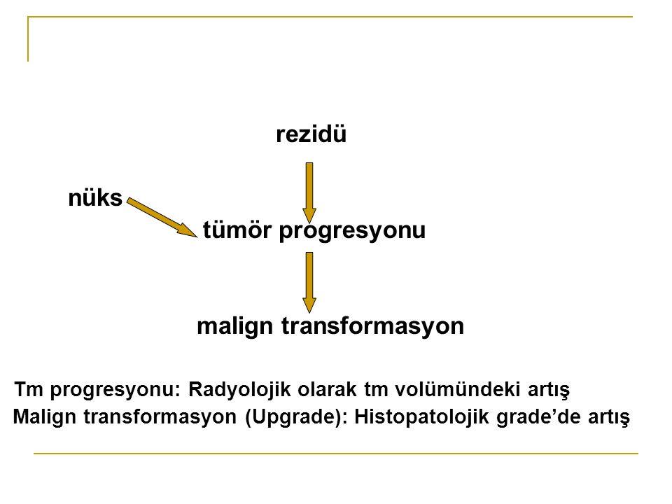 rezidü nüks tümör progresyonu malign transformasyon Tm progresyonu: Radyolojik olarak tm volümündeki artış Malign transformasyon (Upgrade): Histopatolojik grade'de artış