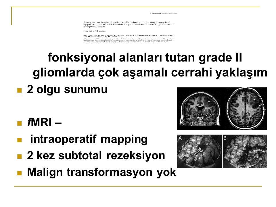 fonksiyonal alanları tutan grade II gliomlarda çok aşamalı cerrahi yaklaşım 2 olgu sunumu fMRI – intraoperatif mapping 2 kez subtotal rezeksiyon Malign transformasyon yok
