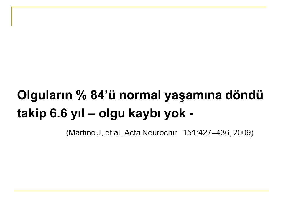 Olguların % 84'ü normal yaşamına döndü takip 6.6 yıl – olgu kaybı yok - (Martino J, et al.
