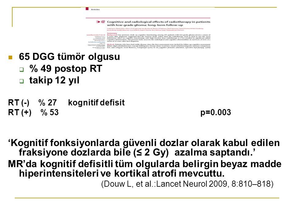65 DGG tümör olgusu  % 49 postop RT  takip 12 yıl RT (-) % 27 kognitif defisit RT (+) % 53 p=0.003 'Kognitif fonksiyonlarda güvenli dozlar olarak kabul edilen fraksiyone dozlarda bile (≤ 2 Gy) azalma saptandı.' MR'da kognitif defisitli tüm olgularda belirgin beyaz madde hiperintensiteleri ve kortikal atrofi mevcuttu.