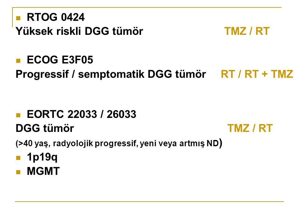 RTOG 0424 Yüksek riskli DGG tümör TMZ / RT ECOG E3F05 Progressif / semptomatik DGG tümör RT / RT + TMZ EORTC 22033 / 26033 DGG tümör TMZ / RT (>40 yaş, radyolojik progressif, yeni veya artmış ND ) 1p19q MGMT