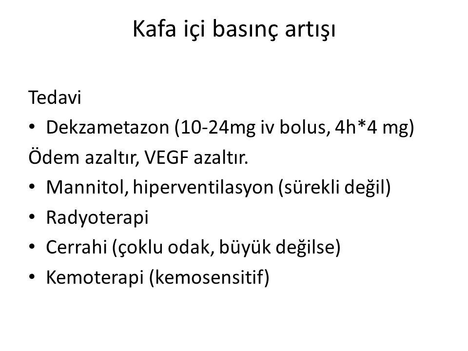 Tedavi Dekzametazon (10-24mg iv bolus, 4h*4 mg) Ödem azaltır, VEGF azaltır. Mannitol, hiperventilasyon (sürekli değil) Radyoterapi Cerrahi (çoklu odak