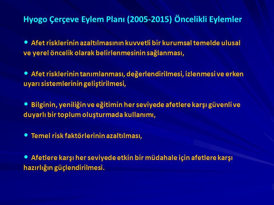 Hyogo Çerçeve Eylem Planı (2005-2015) Öncelikli Eylemler Afet risklerinin azaltılmasının kuvvetli bir kurumsal temelde ulusal ve yerel öncelik olarak belirlenmesinin sağlanması, Afet risklerinin tanımlanması, değerlendirilmesi, izlenmesi ve erken uyarı sistemlerinin geliştirilmesi, Bilginin, yeniliğin ve eğitimin her seviyede afetlere karşı güvenli ve duyarlı bir toplum oluşturmada kullanımı, Temel risk faktörlerinin azaltılması, Afetlere karşı her seviyede etkin bir müdahale için afetlere karşı hazırlığın güçlendirilmesi.