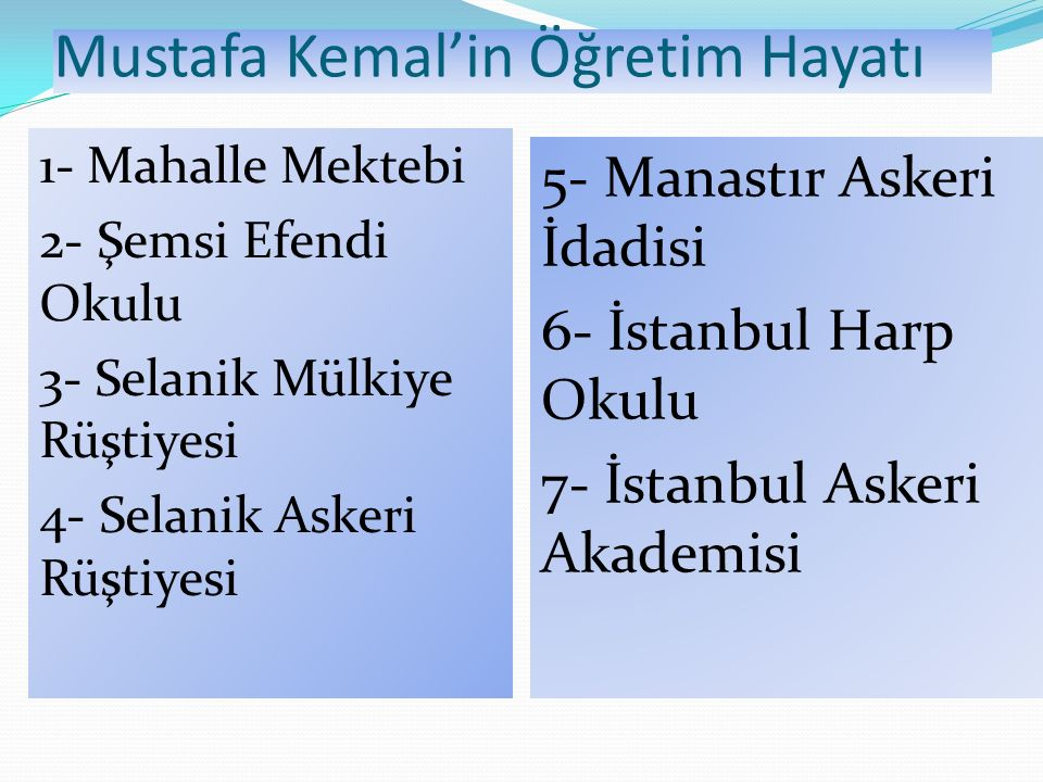 Mustafa Kemal'in Öğretim Hayatı 1- Mahalle Mektebi 2- Şemsi Efendi Okulu 3- Selanik Mülkiye Rüştiyesi 4- Selanik Askeri Rüştiyesi 5- Manastır Askeri İ
