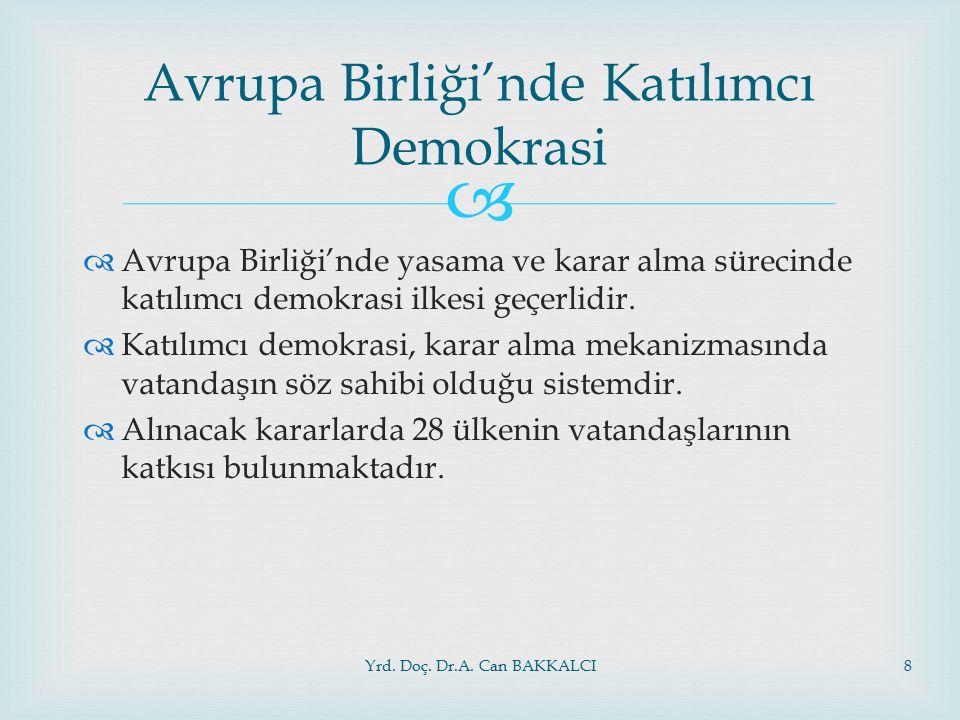   Avrupa Birliği'nde yasama ve karar alma sürecinde katılımcı demokrasi ilkesi geçerlidir.  Katılımcı demokrasi, karar alma mekanizmasında vatandaş