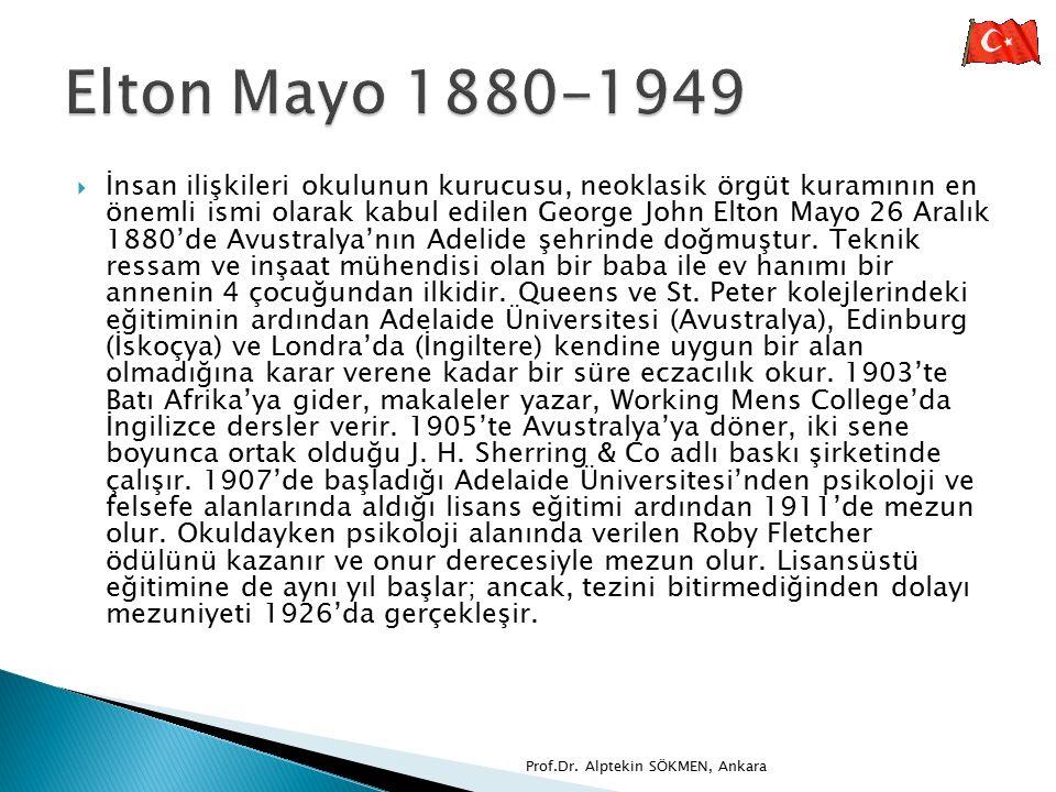  İnsan ilişkileri okulunun kurucusu, neoklasik örgüt kuramının en önemli ismi olarak kabul edilen George John Elton Mayo 26 Aralık 1880'de Avustralya