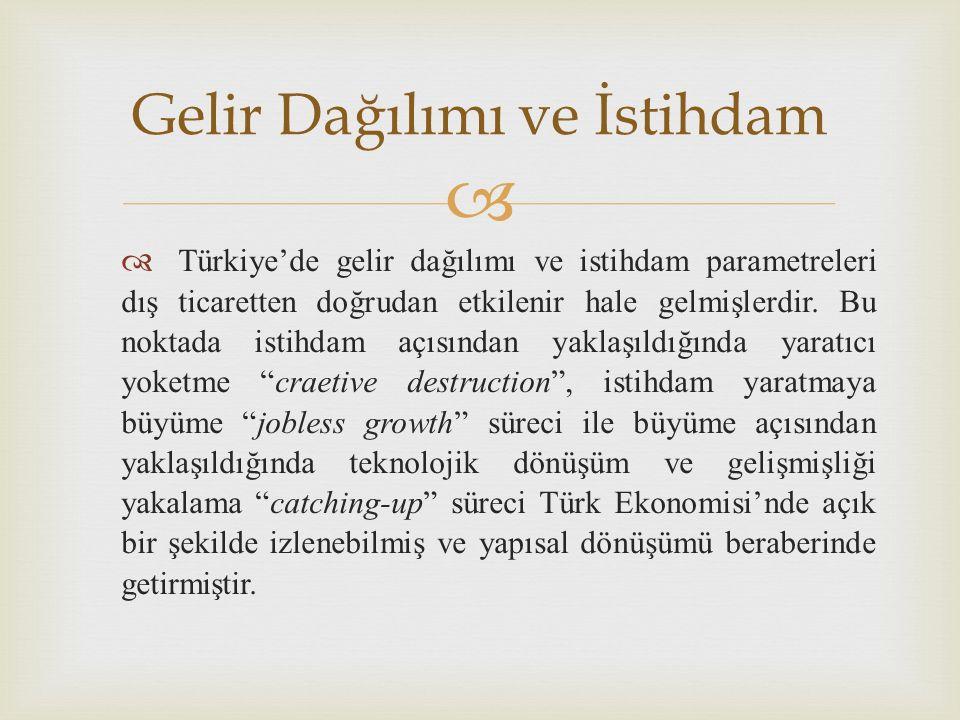   Türkiye'de gelir dağılımı ve istihdam parametreleri dış ticaretten doğrudan etkilenir hale gelmişlerdir.