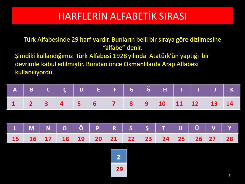 HARFLERİN ALFABETİK SIRASI ABCÇDEFGĞHIİJK LMNOÖPRSŞTUÜVY z 1234567891011121314 1516171819202122232425262728 29 Türk Alfabesinde 29 harf vardır.