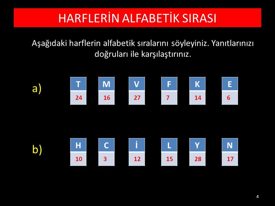 HARFLERİN ALFABETİK SIRASI Aşağıdaki harflerin alfabetik sıralarını söyleyiniz.