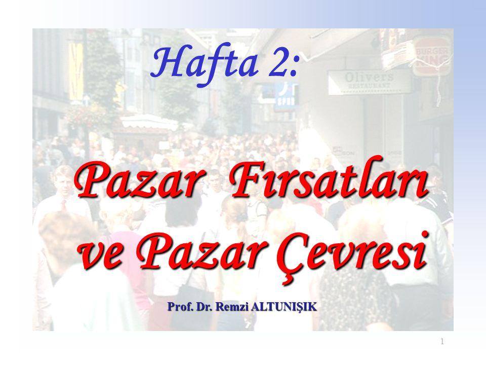 1 Prof. Dr. Remzi ALTUNIŞIK Hafta 2: Pazar Fırsatları ve Pazar Çevresi