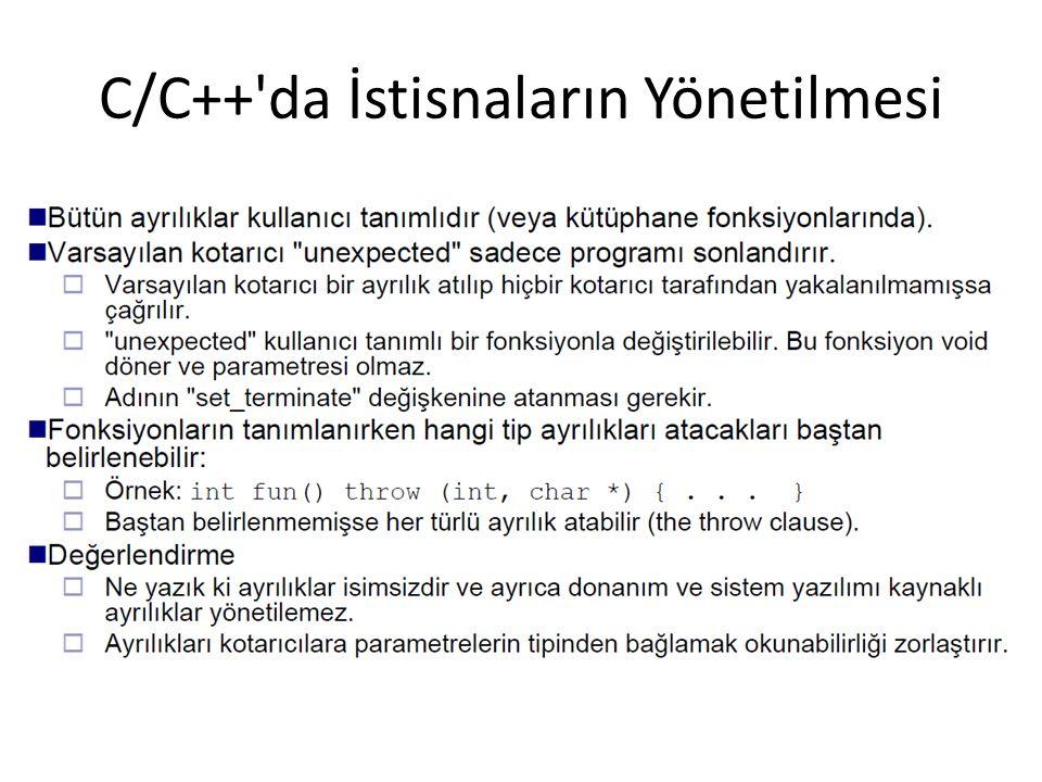 C/C++ da İstisnaların Yönetilmesi
