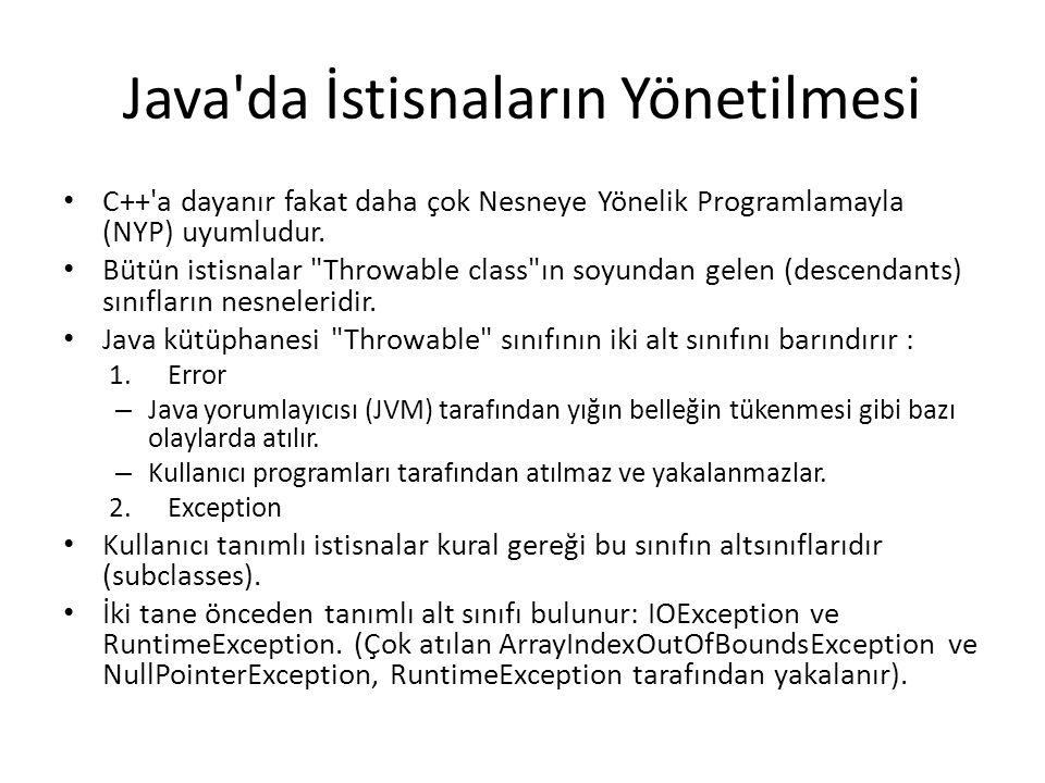 Java da İstisnaların Yönetilmesi C++ a dayanır fakat daha çok Nesneye Yönelik Programlamayla (NYP) uyumludur.