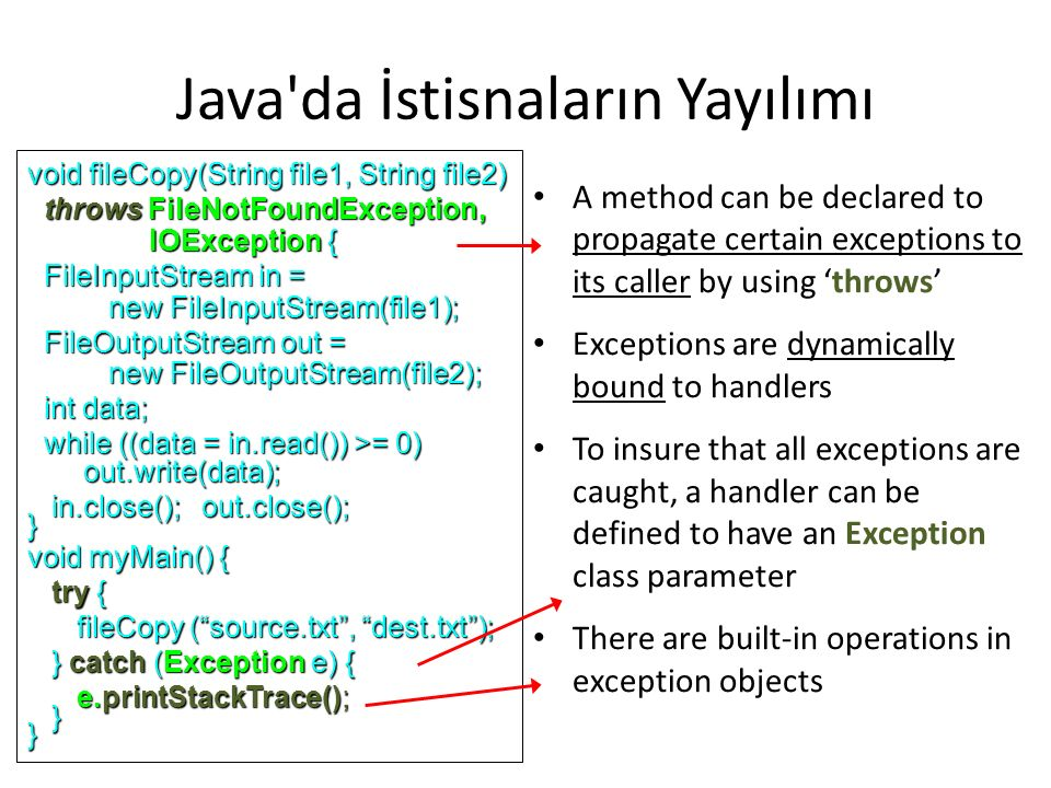 Java da İstisnaların Yayılımı A method can be declared to propagate certain exceptions to its caller by using 'throws' Exceptions are dynamically bound to handlers To insure that all exceptions are caught, a handler can be defined to have an Exception class parameter There are built-in operations in exception objects void fileCopy(String file1, String file2) throws FileNotFoundException, throws FileNotFoundException, IOException { IOException { FileInputStream in = FileInputStream in = new FileInputStream(file1); new FileInputStream(file1); FileOutputStream out = FileOutputStream out = new FileOutputStream(file2); new FileOutputStream(file2); int data; int data; while ((data = in.read()) >= 0) while ((data = in.read()) >= 0) out.write(data); out.write(data); in.close(); out.close(); in.close(); out.close();} void myMain() { try { try { fileCopy ( source.txt , dest.txt ); fileCopy ( source.txt , dest.txt ); } catch (Exception e) { } catch (Exception e) { e.printStackTrace(); e.printStackTrace(); }}