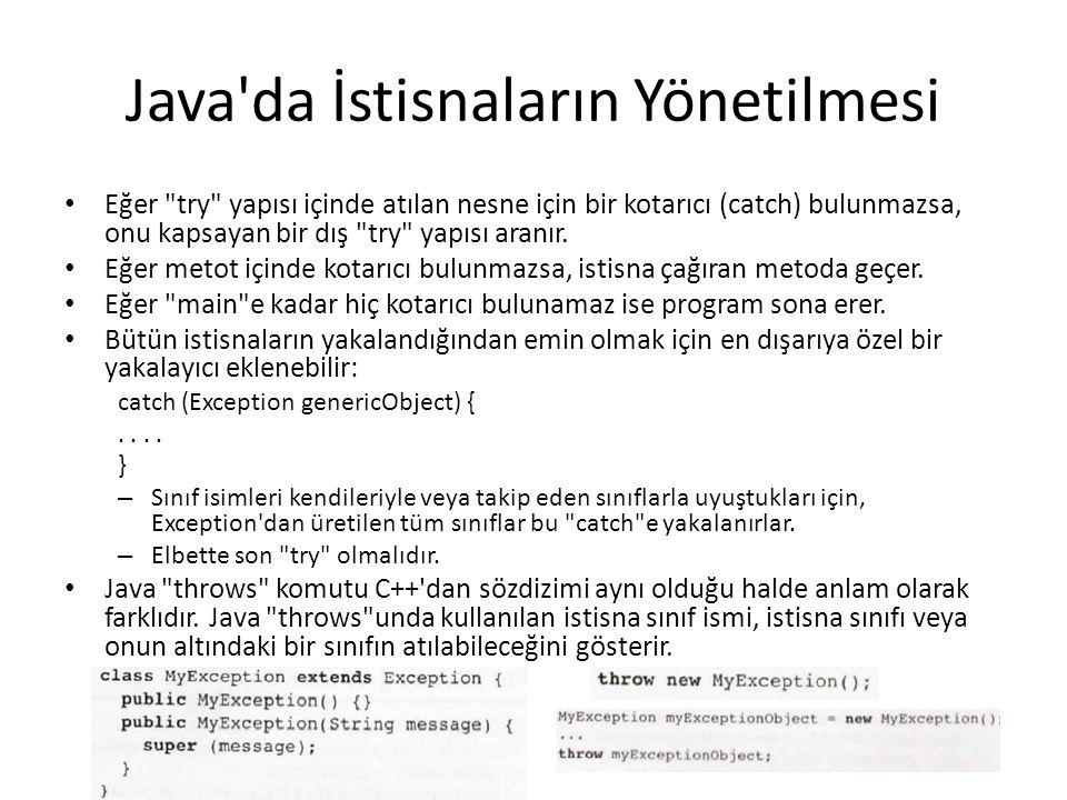 Java da İstisnaların Yönetilmesi Eğer try yapısı içinde atılan nesne için bir kotarıcı (catch) bulunmazsa, onu kapsayan bir dış try yapısı aranır.