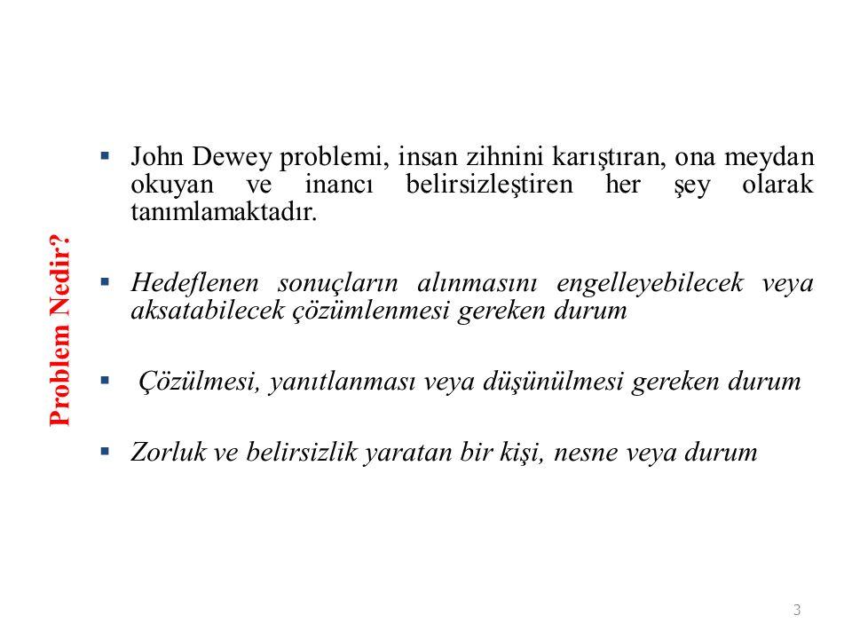 3  John Dewey problemi, insan zihnini karıştıran, ona meydan okuyan ve inancı belirsizleştiren her şey olarak tanımlamaktadır.  Hedeflenen sonuçları