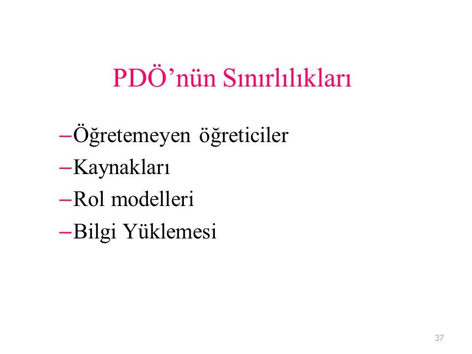 37 PDÖ'nün Sınırlılıkları – Öğretemeyen öğreticiler – Kaynakları – Rol modelleri – Bilgi Yüklemesi 37