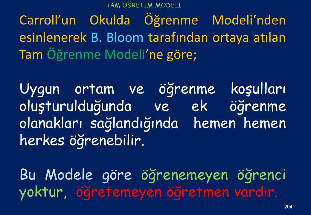 Carroll'un Okulda Öğrenme Modeli'nden esinlenerek B. Bloom tarafından ortaya atılan Tam Öğrenme Modeli'ne göre; Uygun ortam ve öğrenme koşulları oluşt