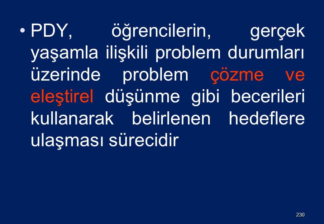 PDY, öğrencilerin, gerçek yaşamla ilişkili problem durumları üzerinde problem çözme ve eleştirel düşünme gibi becerileri kullanarak belirlenen hedeflere ulaşması sürecidir 230