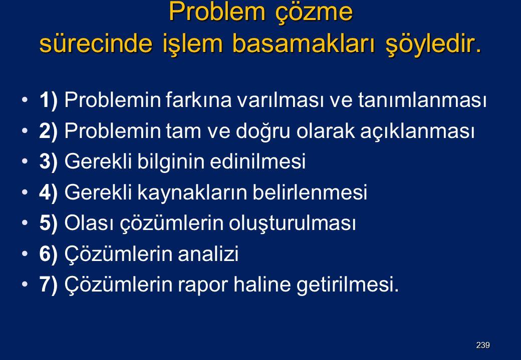 Problem çözme sürecinde işlem basamakları şöyledir. 1) Problemin farkına varılması ve tanımlanması 2) Problemin tam ve doğru olarak açıklanması 3) Ger