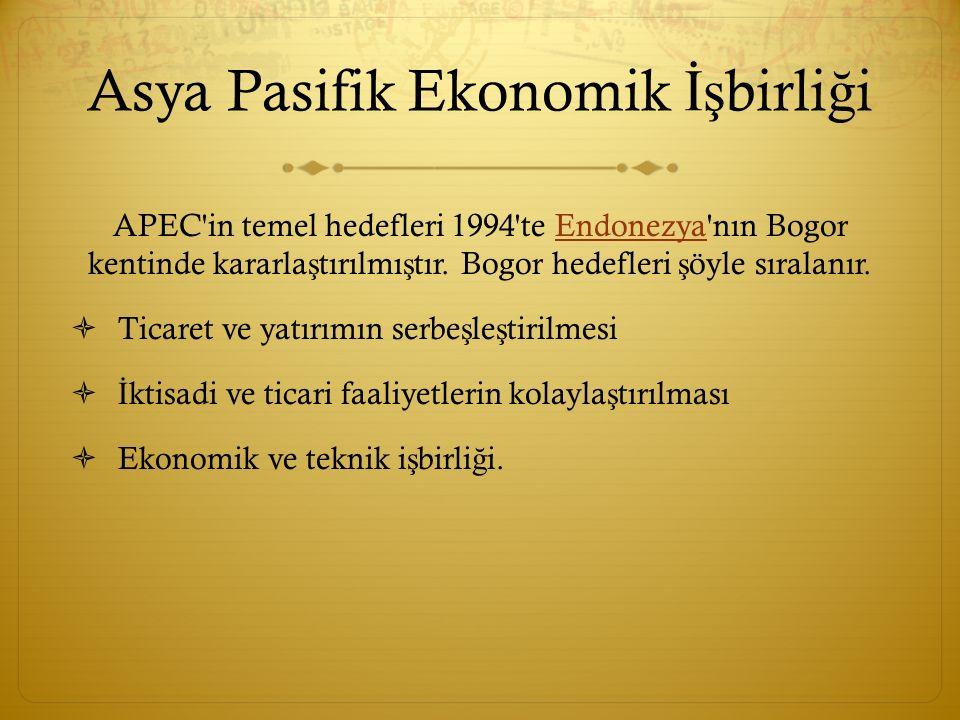 Asya Pasifik Ekonomik İş birli ğ i APEC'in temel hedefleri 1994'te Endonezya'nın Bogor kentinde kararla ş tırılmı ş tır. Bogor hedefleri ş öyle sırala