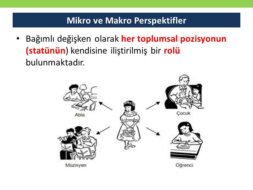 Bağımlı değişken olarak her toplumsal pozisyonun (statünün) kendisine iliştirilmiş bir rolü bulunmaktadır. Mikro ve Makro Perspektifler