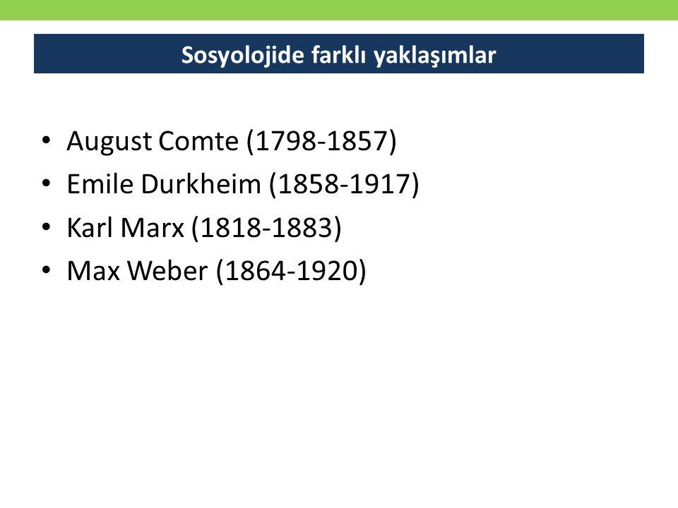 August Comte (1798-1857) Emile Durkheim (1858-1917) Karl Marx (1818-1883) Max Weber (1864-1920) Sosyolojide farklı yaklaşımlar