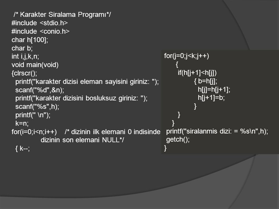 /* Karakter Siralama Programı*/ #include char h[100]; char b; int i,j,k,n; void main(void) {clrscr(); printf( karakter dizisi eleman sayisini giriniz: ); scanf( %d ,&n); printf( karakter dizisini bosluksuz giriniz: ); scanf( %s ,h); printf( \n ); k=n; for(i=0;i<n;i++) /* dizinin ilk elemani 0 indisinde dizinin son elemani NULL*/ { k--; for(j=0;j<k;j++) { if(h[j+1]<h[j]) { b=h[j]; h[j]=h[j+1]; h[j+1]=b; } printf( siralanmis dizi: = %s\n ,h); getch(); }
