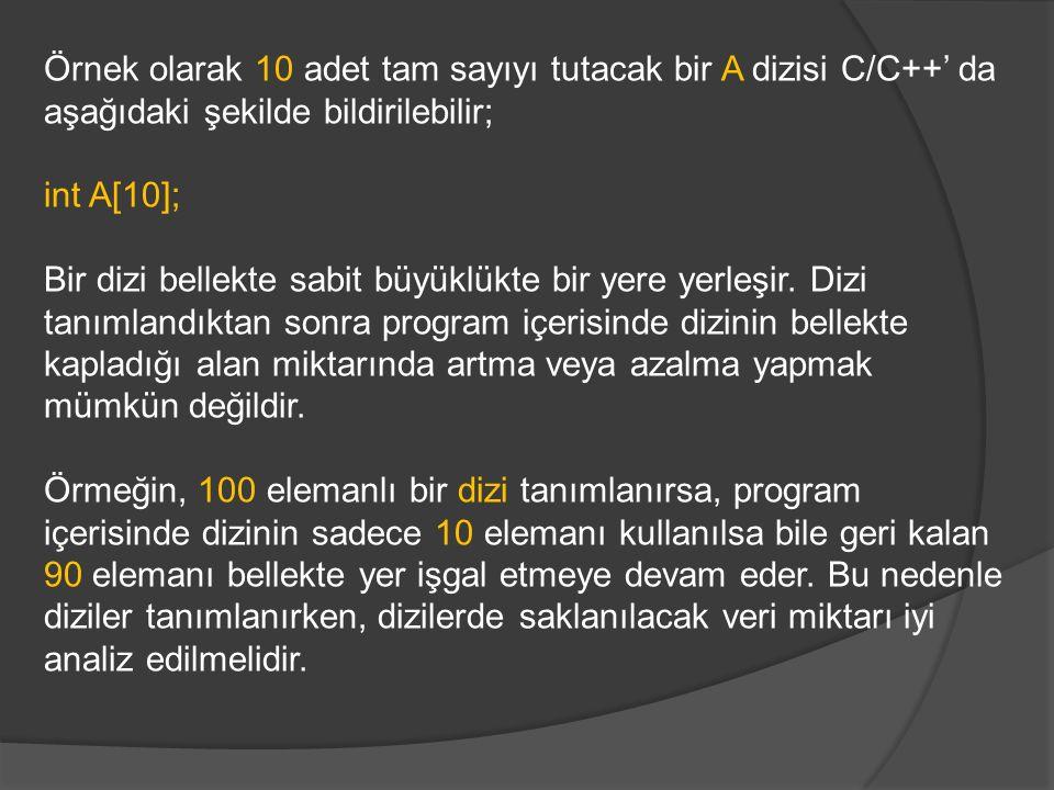Örnek olarak 10 adet tam sayıyı tutacak bir A dizisi C/C++' da aşağıdaki şekilde bildirilebilir; int A[10]; Bir dizi bellekte sabit büyüklükte bir yere yerleşir.