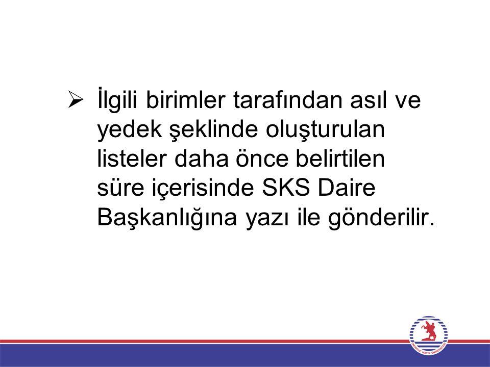  İlgili birimler tarafından asıl ve yedek şeklinde oluşturulan listeler daha önce belirtilen süre içerisinde SKS Daire Başkanlığına yazı ile gönderil