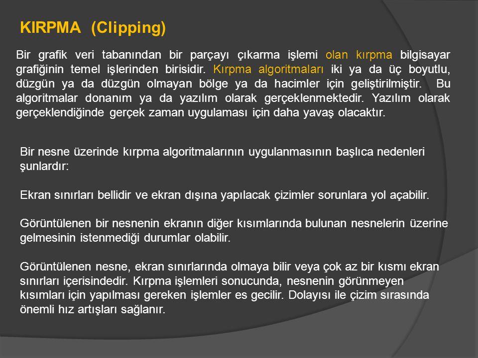KIRPMA (Clipping) Bir grafik veri tabanından bir parçayı çıkarma işlemi olan kırpma bilgisayar grafiğinin temel işlerinden birisidir. Kırpma algoritma