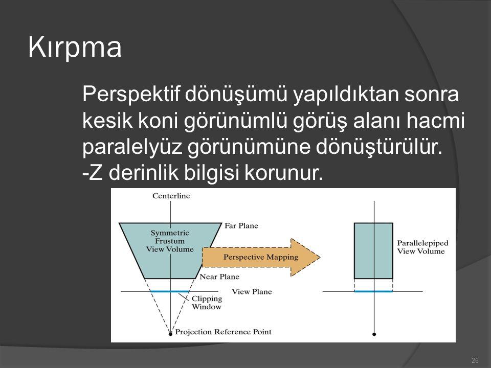 Kırpma Perspektif dönüşümü yapıldıktan sonra kesik koni görünümlü görüş alanı hacmi paralelyüz görünümüne dönüştürülür. -Z derinlik bilgisi korunur. 2
