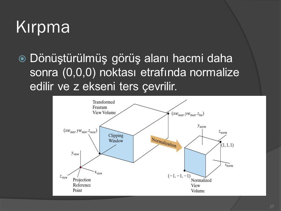 Kırpma  Dönüştürülmüş görüş alanı hacmi daha sonra (0,0,0) noktası etrafında normalize edilir ve z ekseni ters çevrilir. 27