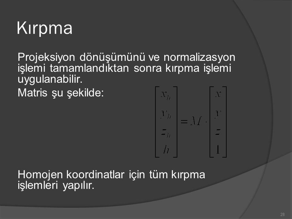 Kırpma Projeksiyon dönüşümünü ve normalizasyon işlemi tamamlandıktan sonra kırpma işlemi uygulanabilir. Matris şu şekilde: Homojen koordinatlar için t