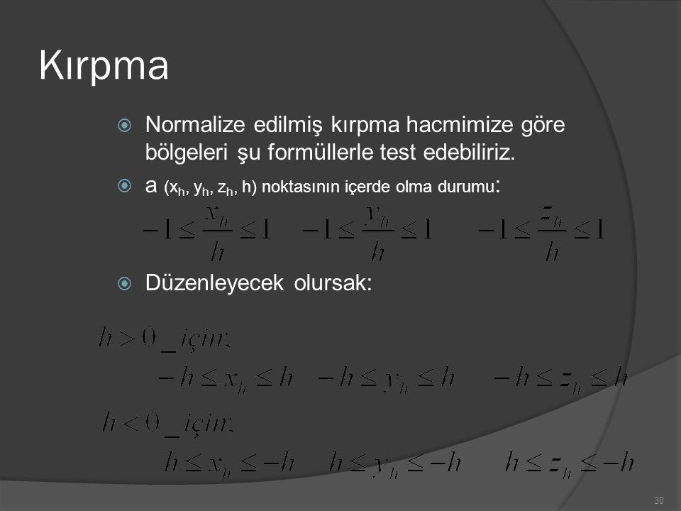 Kırpma  Normalize edilmiş kırpma hacmimize göre bölgeleri şu formüllerle test edebiliriz.  a (x h, y h, z h, h) noktasının içerde olma durumu :  Dü