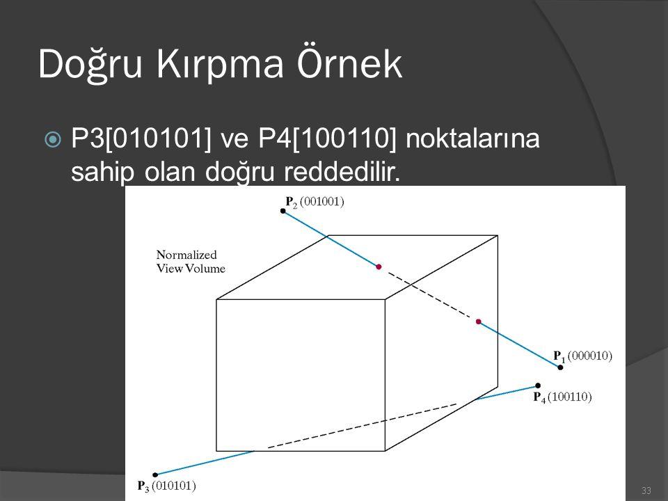 Doğru Kırpma Örnek  P3[010101] ve P4[100110] noktalarına sahip olan doğru reddedilir. 33