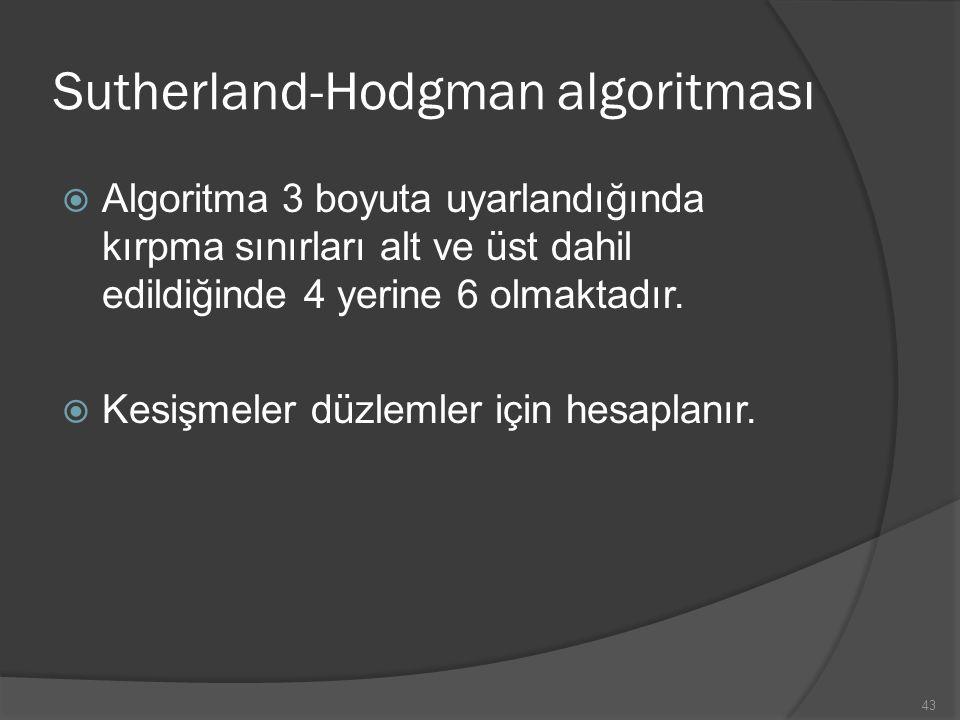 Sutherland-Hodgman algoritması  Algoritma 3 boyuta uyarlandığında kırpma sınırları alt ve üst dahil edildiğinde 4 yerine 6 olmaktadır.  Kesişmeler d