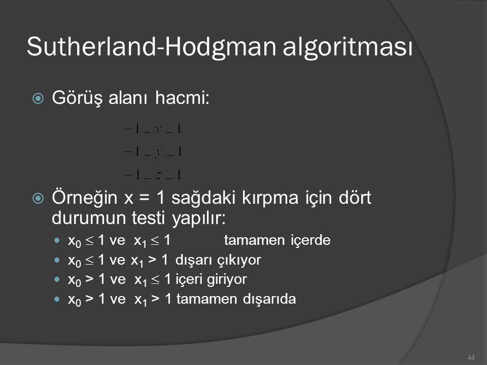 Sutherland-Hodgman algoritması  Görüş alanı hacmi:  Örneğin x = 1 sağdaki kırpma için dört durumun testi yapılır: x 0  1 ve x 1  1 tamamen içerde